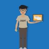 Uomo del geek con il computer portatile Fotografie Stock