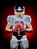 Uomo del giocatore di football americano isolato fotografia stock