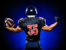 Uomo del giocatore di football americano isolato immagini stock