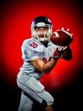 Uomo del giocatore di football americano isolato fotografie stock