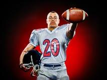 Uomo del giocatore di football americano isolato fotografia stock libera da diritti