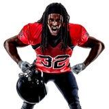Uomo del giocatore di football americano isolato fotografie stock libere da diritti