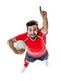 Uomo del giocatore di rugby isolato Fotografia Stock