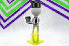 uomo del laureato 3d con l'illustrazione del computer portatile Immagine Stock