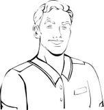 Uomo del lavoratore, con l'acconciatura in rivestimento, camicia illustrazione vettoriale