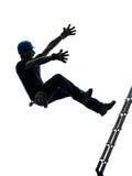 Uomo del lavoratore manuale che cade dalla siluetta della scala Fotografia Stock Libera da Diritti