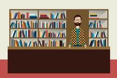 Uomo del libraio e della libreria illustrazione di stock