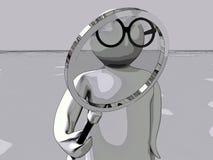 Uomo del Magnifier immagini stock