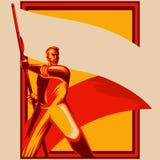 Uomo del manifesto di rivoluzione che tiene l'illustrazione in bianco di vettore della bandiera illustrazione vettoriale