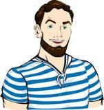 Uomo del marinaio, militare con l'acconciatura in rivestimento, camicia Immagine Stock