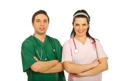Uomo del medico e donna dell'infermiera Fotografia Stock Libera da Diritti