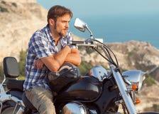 Uomo del motociclista Fotografie Stock