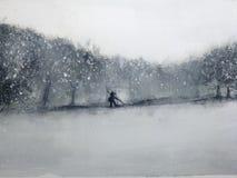 Uomo del paesaggio dell'acquerello che cammina attraverso la foresta nella tempesta della neve Orientale tradizionale stile di ar illustrazione di stock