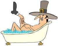 Uomo del pellegrino che prende un bagno di bolla Immagini Stock Libere da Diritti