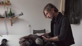 Uomo del pellicciaio che tocca pelliccia mentre lavorando nell'officina di cucito stock footage