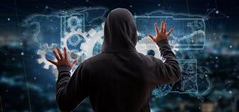 Uomo del pirata informatico che tiene una rappresentazione dell'interfaccia 3d di tecnologia Immagini Stock
