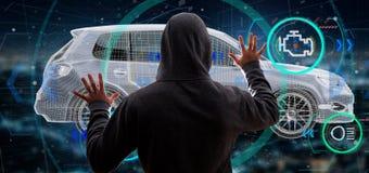 Uomo del pirata informatico che tiene una rappresentazione smartcar di concetto 3d Fotografie Stock
