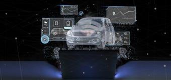 Uomo del pirata informatico che tiene una rappresentazione smartcar di concetto 3d Fotografia Stock Libera da Diritti