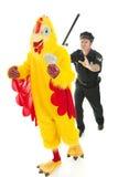 Uomo del pollo sulla fuga Immagine Stock