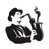 Uomo del sassofono Fotografia Stock