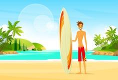Uomo del surfista con estate della palma del bordo praticante il surfing Fotografia Stock