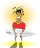 Uomo del surfista con il bordo praticante il surfing Immagini Stock Libere da Diritti
