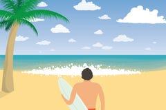 Uomo del surfista con il bordo praticante il surfing sulla spiaggia Vacanza estiva royalty illustrazione gratis