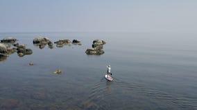 Uomo del surfista sul bordo bianco del sup che galleggia sulla chiara acqua calma Bello giorno di estate archivi video