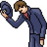 Uomo delicato di arte del pixel di vettore illustrazione di stock