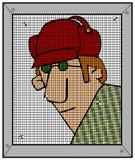 Uomo dell'agricoltore del Sud che guarda da una porta antizanzare royalty illustrazione gratis