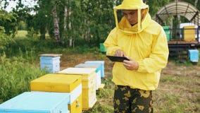 Uomo dell'apicoltore con il computer della compressa che controlla gli alveari di legno prima della raccolta del miele in arnia Fotografia Stock