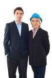 Uomo dell'assistente tecnico e donna dell'architetto fotografia stock libera da diritti