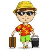 Uomo dell'attrezzatura di vacanza del fumetto con il sacchetto Immagine Stock