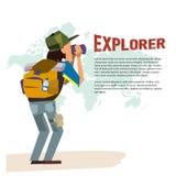Uomo dell'esploratore con il telescopio carattere di viaggiatore con zaino e sacco a pelo raggiro di avventura Immagini Stock