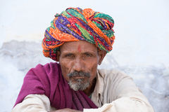 Uomo dell'indiano del ritratto Pushkar, India Fotografia Stock
