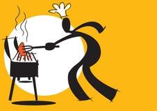 Uomo dell'ombra che cucina barbecue Fotografie Stock Libere da Diritti