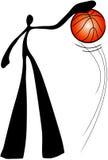 Uomo dell'ombra che gioca pallacanestro Immagine Stock Libera da Diritti