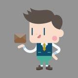 Uomo dell'ufficio del carattere che invia gli elementi di tema del email Immagine Stock