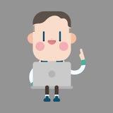 Uomo dell'ufficio del carattere che usando gli elementi di tema del computer Immagini Stock