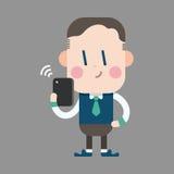 Uomo dell'ufficio del carattere che usando gli elementi di tema del telefono cellulare Immagine Stock Libera da Diritti