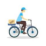 Uomo della bicicletta di consegna con il contenitore di cartone Vettore royalty illustrazione gratis