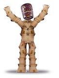 Uomo della casella che si nasconde dietro una maschera tribale Fotografie Stock Libere da Diritti