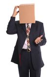 Uomo della casella - pensando fotografia stock