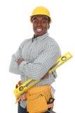 Uomo della costruzione dell'afroamericano Fotografia Stock