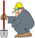 Uomo della costruzione e la sua pala Immagine Stock Libera da Diritti