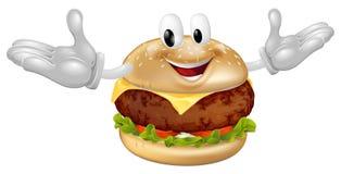 Uomo della mascotte dell'hamburger Immagine Stock
