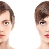 Uomo della mezza donna del ritratto mezzo, concetto di androginia fotografia stock libera da diritti