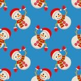 Uomo della neve nel modello senza cuciture del cappuccio del Babbo Natale Fotografia Stock Libera da Diritti