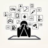 Uomo della persona dedita ed insieme dei simboli di dipendenza Immagini Stock Libere da Diritti
