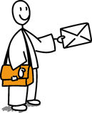 Uomo della posta con la lettera Immagine Stock Libera da Diritti